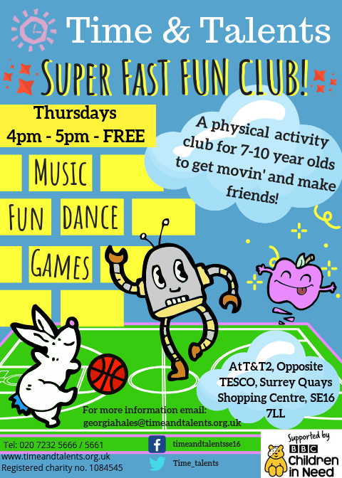 Super Fast Fun Club is an activity session for 7-10 year olds to get moving and make friends!