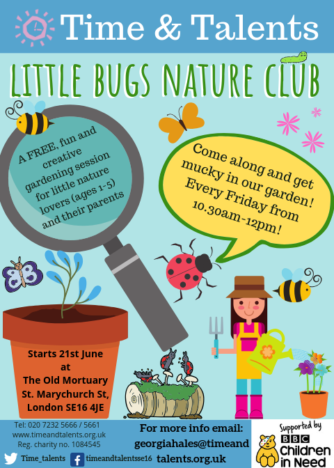 Little Bugs Nature Club is a group for under 5s and their adults to get outside and explore our Secret Garden with some creative gardening