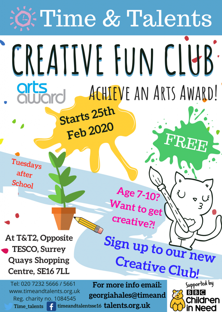 February-March 2020 Arts Award - email georgiahales@timeandtalents.org.uk to sign up