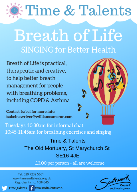 Breathe of Life is a singing for better health group hosted at Time & Talents every Tuesday morning