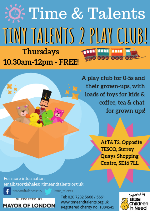 A weekly play club for 0-5s on Thursday mornings at T&T2