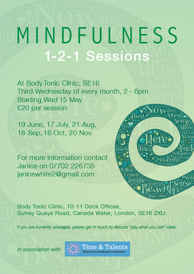 Private Mindfulness sessions hosted at Bodytonic on the 3rd Wednesday of each month