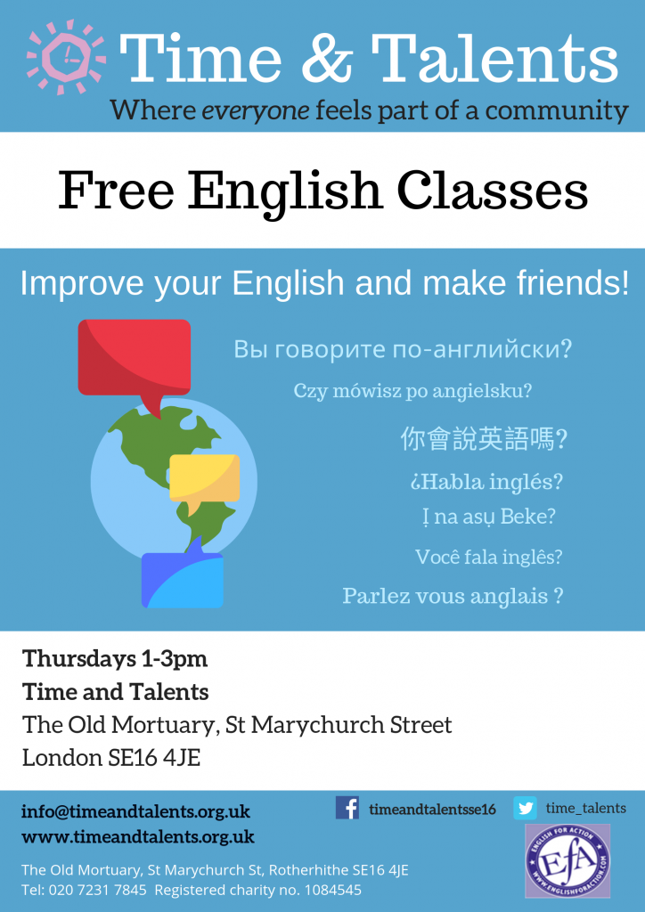 A free English class at Time & Talents every Thursday afternoon from 1pm-3pm