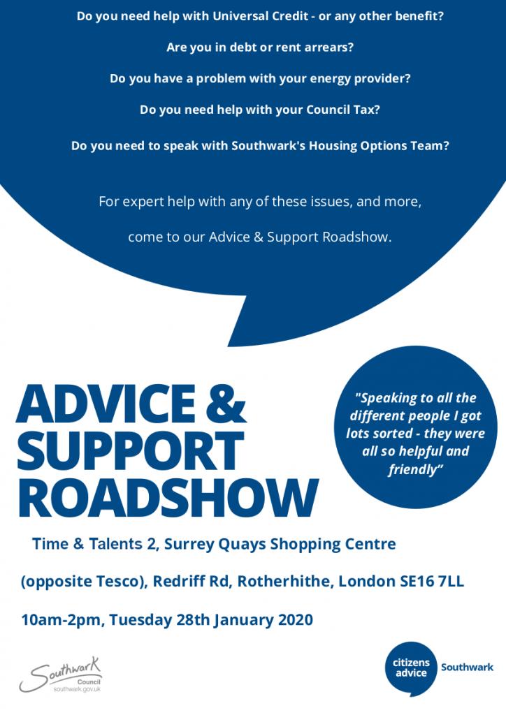 Citizens Advice Southwark Roadshow - 28 Jan @ T&T2