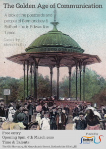 A postcard showing the bandstand in Southwark Park with lots of Edwardian children gathered around